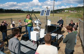 ACEP's Heike Merkel teaches students outside at the 2019 Microgrid Boot Camp